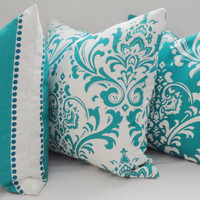 Trio Decorative Pillow Turquoise Damask Pillow Covers Throw Pillows 18x18