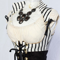 White and Black Stripe Cropped Vixen by damselindistress
