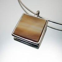 Stained Glass Pendant - White Caramel