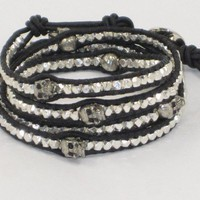 Handmade Sterling Silver Nugget and Skull Bead Leather Wrap Bracelet