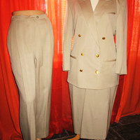Amazing Vintage AUGUSTUS SUIT Classy Jacket With Pants And Skirt Beige Wool Lined Size 14