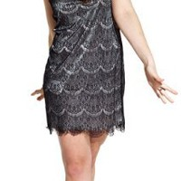 Scalloped Lace Overlay Mini Flapper Dress Junior