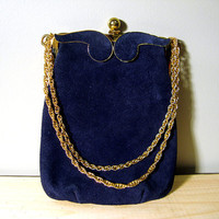 Vintage 1950s Suede Evening Bag - Triangle NY