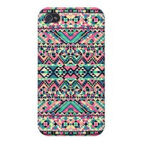 Pink Turquoise Girly Aztec Andes Tribal Pattern iPhone 4 Cases from Zazzle.com