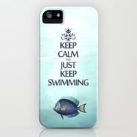 Keep Calm and Just Keep Swimming iPhone Case by Textures&amp;Moods by Belle13 | Society6