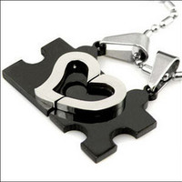 Heart Shape Jigsaw Puzzle Titanium Steel Couple Necklace - GULLEITRUSTMART.COM
