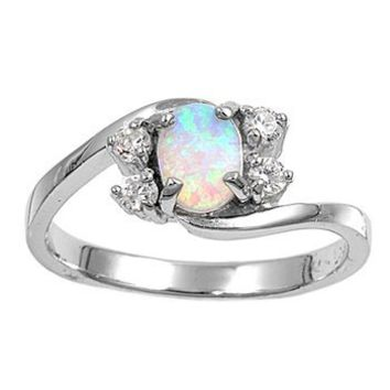 Sterling Silver Oval White Lab Opal Ring (Size 5 - 9) - Size 9: Jewelry: Amazon.com
