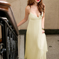Sexy V Neck Pleats Spaghetti Strap Dresses Beige : Wholesaleclothing4u.com
