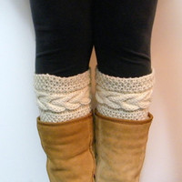 Knitting Pattern  Madison Cable Boot Cuffs Pattern  by LewisKnits