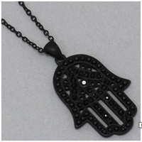 Hamsa Necklace - Black