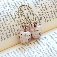 Owl Earrings Pink Ceramic/Porcelain Beads Antique by JujuTreasures