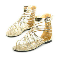 Leatherette Upper Flat Heel Gladiator Sandals Honeymoon Shoes.More Colors Available - $29.88