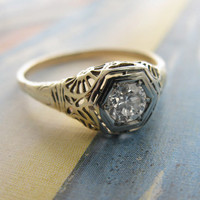 Erica Weiner Jewelry - Art Deco Spiderweb Filigree Engagement Ring