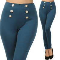 Teal Blue Sailor Pants Gold Button Front Leggings