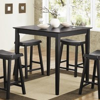 5pc Counter Height Dining Table Stools Set Black Finish NoPart: 150291N