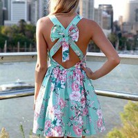 Green Floral Dress with Pleated Skirt&Cutout Bow Back