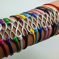 Infinity wish Bracelet Vintage Style Silver Bracelet 14 Different Colors High Quality Wax Rope Bracelet 0599