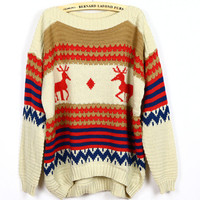 Women Loose Bat Wing Knitting Beige Sweater One Size YS1012be from efoxcity