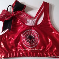 Silver Spidey Super Hero Metallic Sports Bra and Bow Set Cheerleading