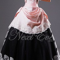 Unique Black and Pink Strapless Ball Gown Prom Dress