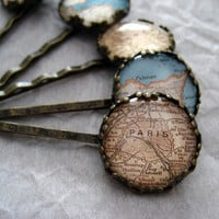 Map of Paris Hair Pin by ivcreations55 on Etsy