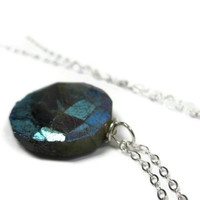 Mystic Labradorite Pendant Necklace on Sterling by LeafAndTendril