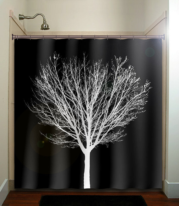White winter tree black shower curtain from tablishedworks on for Black and white shower curtain