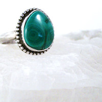 Malachite and Silver Ring Gorgeous Green by colorsoulartistry