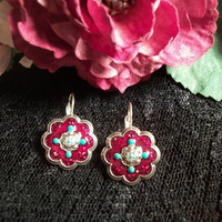 Fashion Earrings, Avon, Flowers, Red, Turquoise, Silver Tone, Southwestern, Floret, Round, Medallions, Casual,  French Hooks, TKSPRINGTHINGS