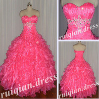 Pink Sweetheart Ball Gown Prom/Quinceanera Dresses Stock Sz 4+6+8+10+12+14+16