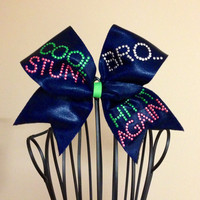 "Navy ""Cool Stunt"" Cheer Bow"