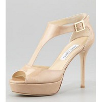 Jimmy Choo Tribe Patent T-Strap Sandal, Nude