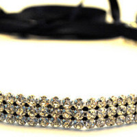 Rhinestone Headband Silver Navy Blue Ribbon by SomethingColorful