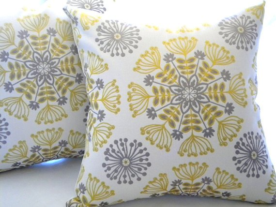 Yellow And Grey Throw Pillow Covers : Decorative pillow cover - Yellow - silver from Mica blue design