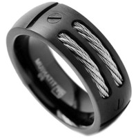 8MM Men's Black Titanium Ring Wedding Band with Stainless Steel Cables and Screw Design Sizes 7 to