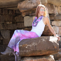 Tie Dye Maxi Skirt (NEW) From The Boho Couture Line Pink Purple Gray