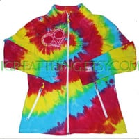 BRIGHT Peace and Love Tie Dye Yoga Running Zip Up Jacket