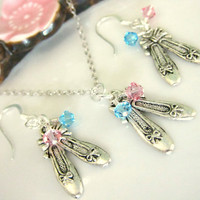 Silver ballet shoe Swarovski blue topaz and light pink crystal necklace and earrings set