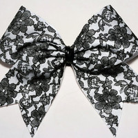 Covered Lace Cheerleading Hairbow WOW Allstar time by FunBows