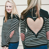 Buttoned Turtleneck Black/White Upcycled  Heart Cut out Sweater FEATURING sueded elbow patches SO CUTE