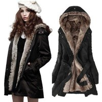 Amazon.com: Zicac Women's Thicken Fleece Faux Fur Warm Winter Coat Hood Parka Overcoat Long Jacket Christmas gift (US0 to US10 Available: Sports & Outdoors