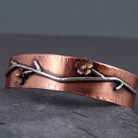 Copper Cherry Blossom Cuff Bracelet Sakura cuff by HapaGirls