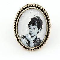 Vintage Adjustable Hepburn Rhinestone Cocktail Ring at Online Jewelry Store Gofavor