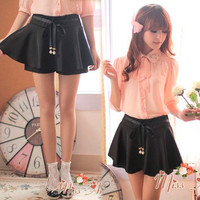 Women's Mini Skirt Pleats Summer Korean Dress Pants Solids Skorts Short Slim