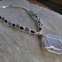 Hemp Necklace Netted Wrapped Smokey Quartz by KnottyandNiceHemp