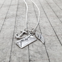 Valentine Charm Necklace Long Sterling Silver by GirlBurkeStudios