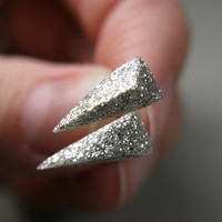 spike post earrings in shimmery white by tinygalaxies on Etsy