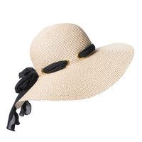 Bow Trimmed Floppy Hat 
