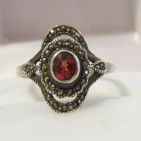 Sterling silver 925 Genuine Garnet & Marcasite ring size 8.75