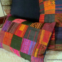 Vintage Hmong Batik & Embroidery Patchwork Lumbar Pillow or Cushion Covers